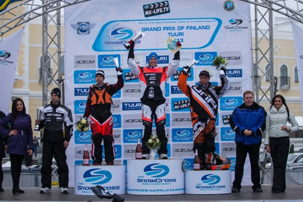 Logan Christian on the podium in Tuuri, Finland